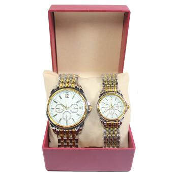 Two Tone Classic Couple Watch - White