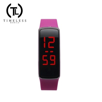 Unisex Purple Jelly Silicone Strap Digital LED Sports Wrist Watch