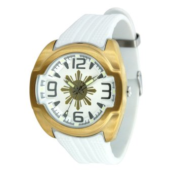 UniSilver TIME Makabayan Dakilang Araw Men's White / Gold / Silver Analog Rubber Watch KW811-1006