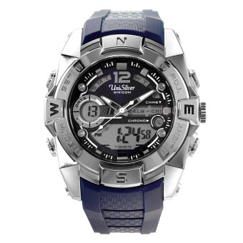 UniSilver TIME Polyhedron Men's Navy Blue / Silver Camouflage Rubber Watch KW2028-1001