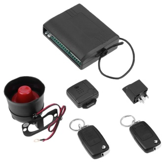 Universal Car Alarm System with Flip Key Remote Control Central Door Lock - intl
