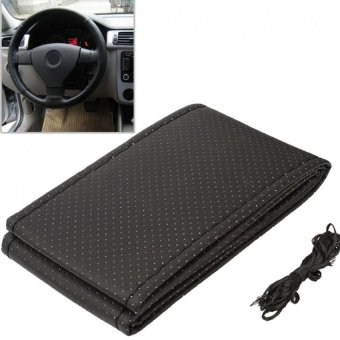 Universal PU Leather DIY Car Steering Wheel Cover Case With Needles and Thread (Black)
