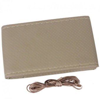Universal PU Leather DIY Car Steering Wheel Cover Case With Needlesand Thread(beige)