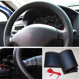 Universal PU Leather DIY Steering Wheel Car Cover With Needles andThread Black red