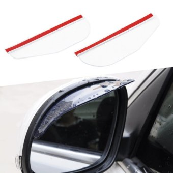 Universal Rear View Side Mirror Rain Eyebrow Board Sun Visor Shade Shield For Car Truck White AU019 - intl