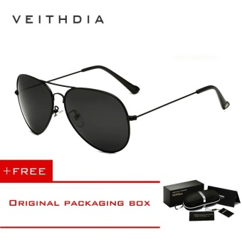VEITHDIA Brand Classic Fashion Polarized Sunglasses Men/Women Colorful Reflective Coating Lens Eyewear Accessories Sun Glasses 3026(Black)[ free gift ]