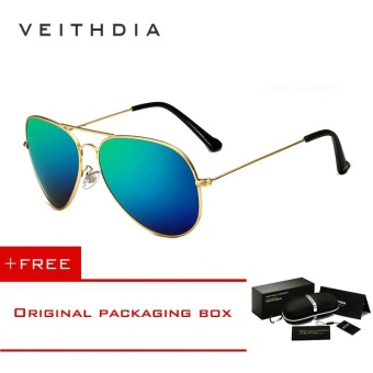 VEITHDIA Brand Classic Fashion Polarized Sunglasses Men/Women Colorful Reflective Coating Lens Eyewear Accessories Sun Glasses 3026(Gold Green)[ free gift ]