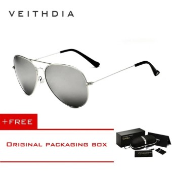VEITHDIA Brand Classic Fashion Polarized Sunglasses Men/Women Colorful Reflective Coating Lens Eyewear Accessories Sun Glasses 3026(Silver) [ free gift ]- intl