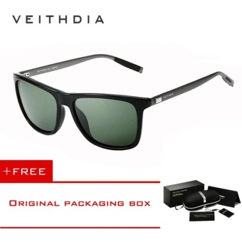 VEITHDIA Brand Unisex Retro Aluminum+TR90 Sunglasses Polarized Lens Vintage Eyewear Accessories Sun Glasses For Men/Women 6108 (dark-green)[ free gift ] - intl