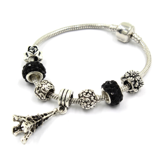 Venice Jewelry Eiffel Tower Charm Bracelet ( Black)
