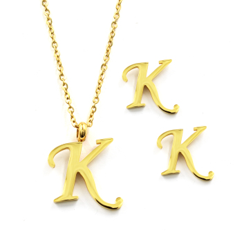 Venice Jewelry Golden 'K' Necklace and Earrings Jewelry Set (18kGold Plated)