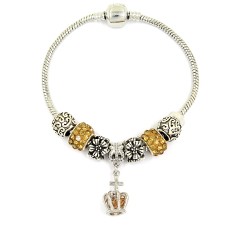 Venice Jewelry Royal's Crown Charm Bracelet ( Golden Brown)