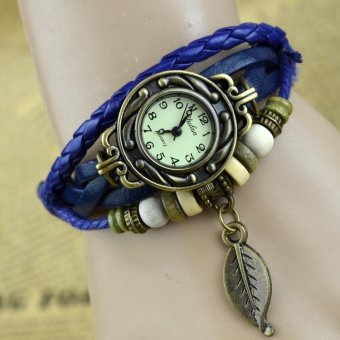 Vintage Leaf Leather Bracelet Quartz Wrist Watch for Women - Dark Blue - intl