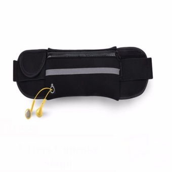 Waist Belt Sport Runner Zipper Belly Bag Fitness Pouch (Black)