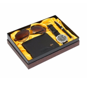 Watch wallet sunglasses and pen gift set (Black)