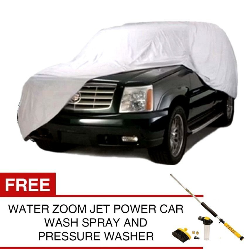 Waterproof Lightweight Nylon Car Cover for SUV (Silver) with FREEWater Zoom Jet Power Washer and Car Wash Spray