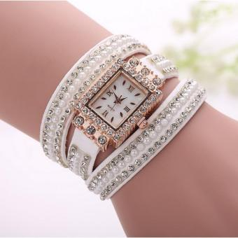 Wawawei New Glamorous Women Fashion Winding Ladies Bracelet TableDiamond Quartz Women's Watch#1162 (white/gold)