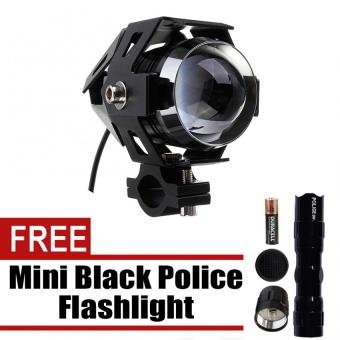 Wawawei U5 LED Motorcycle Head Light Driving Spot Fog Lamp 125W3000LM (Black) with free Mini Black Police Flashlight