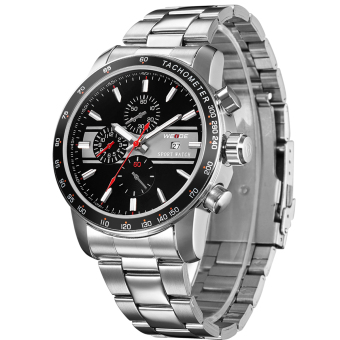 WEIDE WH-3313 Men's Fashion Stainless Steel Band 3ATM Waterproof Quartz Analog Watch With Calendar - Black + Red + Silver Price Philippines