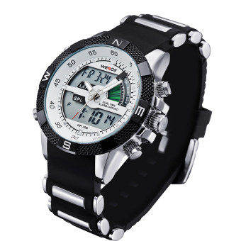 WEIDE WH1104PU-BW Men's Resin Band Quartz Digital Analog Wrist Watch - White Price Philippines