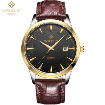 WISHDOIT waterproof fashion casual leather belt business watch men's watch
