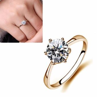 Women Simulated Diamond Wedding Rings Crystal Finger Rings(Gold) -intl Price Philippines