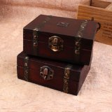 Wood Storage Box 13cm*11cm*5.4cm Retro Antique Decorative Gift Box Double Belt Wooden Jewelry Storage Organizer Copper Nails - intl - 2