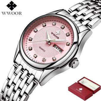 WWOOR New Women Watches Brand Luxury 50m Waterproof Date Clock Ladies Quartz Sports Wrist Watch Women Silver Bracelet