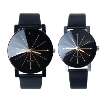 YBC 1 Pair Fashion Couple Wrist Watch PU Leather Round Dial Watchband (Black)