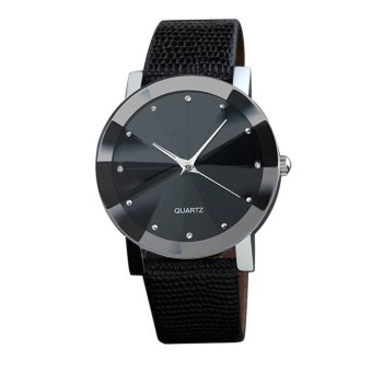 YBC Simple Couple Quartz Watch PU Leather Strap Wristwatch For Men (Black) - intl