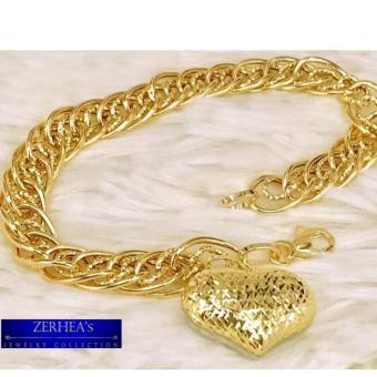 ZERHEA's Heart charm Bracelet w/ Diamond Cutting 18k