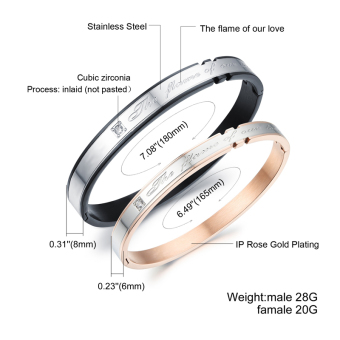 ZUNCLE Couple Valentine's Day Gift Ideas DiamondBracelet(Silver+Rose Gold)