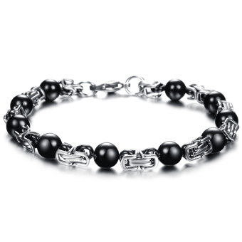 ZUNCLE Italy does not fade titanium steel men's fashion personality black bead bracelet(Black)