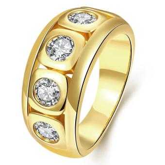 ZUNCLE Italy Imports Gold-plated 18K gold Diamond Ring (Gold)-US Size :8