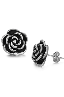 ZUNCLE Retro Golden Flower Titanium Steel Korean Female Fashion Earrings(Silver)