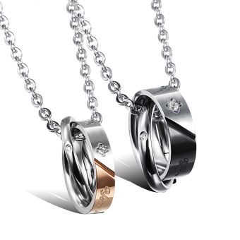 ZUNCLE Swiss Imports Diamonds SMILE Titanium Steel Pendant Gift Necklace Couple(Rose Gold+Black)