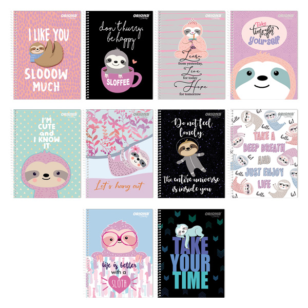 Image of Orions I Heart Sloths Spiral Notebook Set of 10