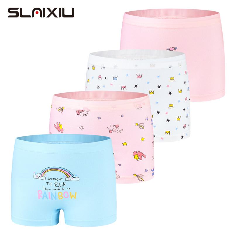 Nơi bán SLAIXIU Kids Girls Underwear Cartoon Rainbow Style Cotton Girl Panties for 2-13 Years Children Shorts Underpants (4pcs)