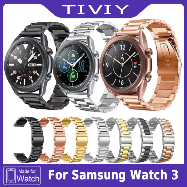 TIVIY Dây đeo bằng thép không gỉ 22mm 20mm cho Samsung Galaxy Watch 3 Dây đeo bằng kim loại 41mm 45mm Strap cho Samsung Galaxy Watch 3 Cổ tay