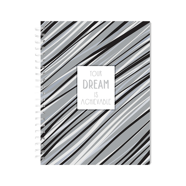Image of Sterling Silver Lines Spiral Notebook 8x10.5 - Your Dream is
