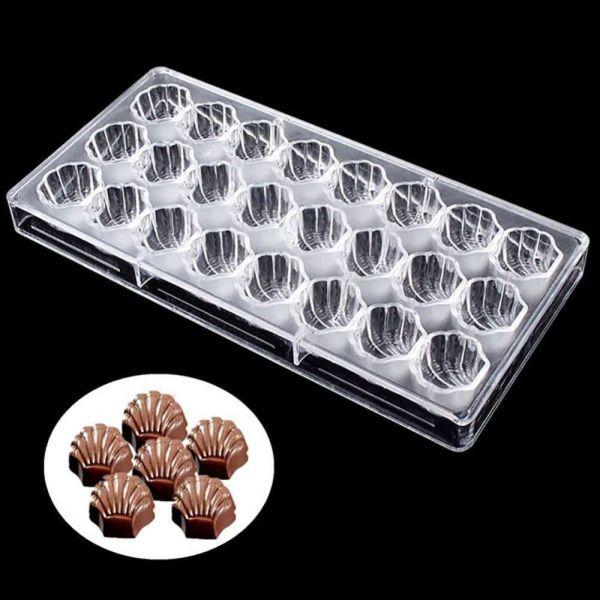 Sanwood®24 Trong 1 3D Sea Shell Shape Polycarbonate Chocolate Khuôn Khay DIY Công Cụ Làm Bánh