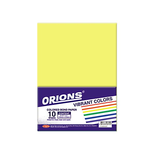 Image of Orions Vibrant Color Colored Bond Paper 10's - Yellow
