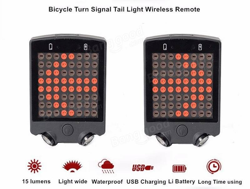 Rechargeable Bicycle Rear Tail Laser LED Light Wireless Remote Turn Signal Lamp#