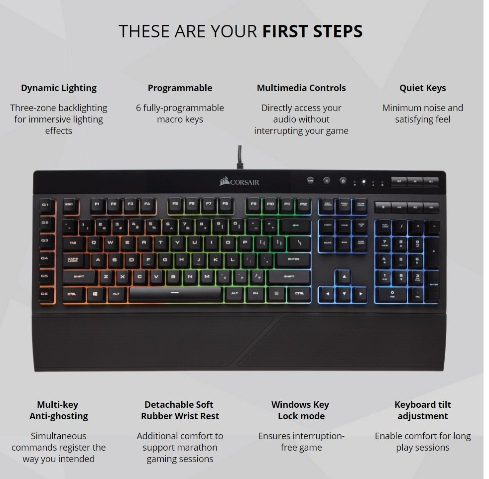 Corsair K55 Rgb Led Backlit Gaming Keyboard Ch 9206015