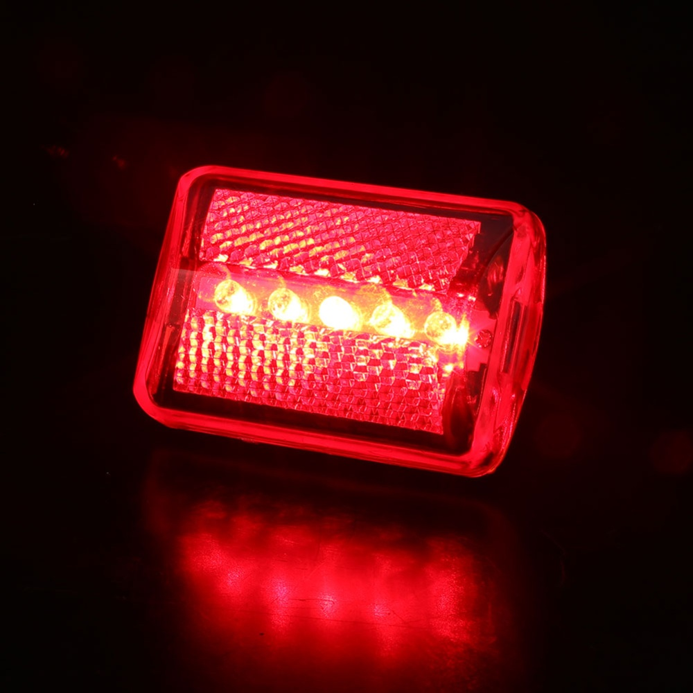5led Flashing Red Rear Light Cycling Bicycle Bike Taillight Safety Tail Easy To Install Seatpost Bracket And Clip On Belt Five Super Bright Leds Emitting Diodes 7 Modes Constant Fast Slow