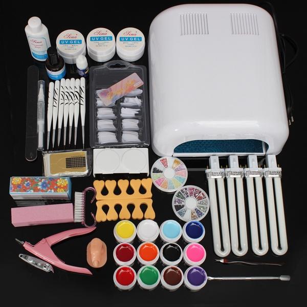 Full Pro Nail Art UV Gel Kits Tools 36W UV lamp Brush Tips Glue ...