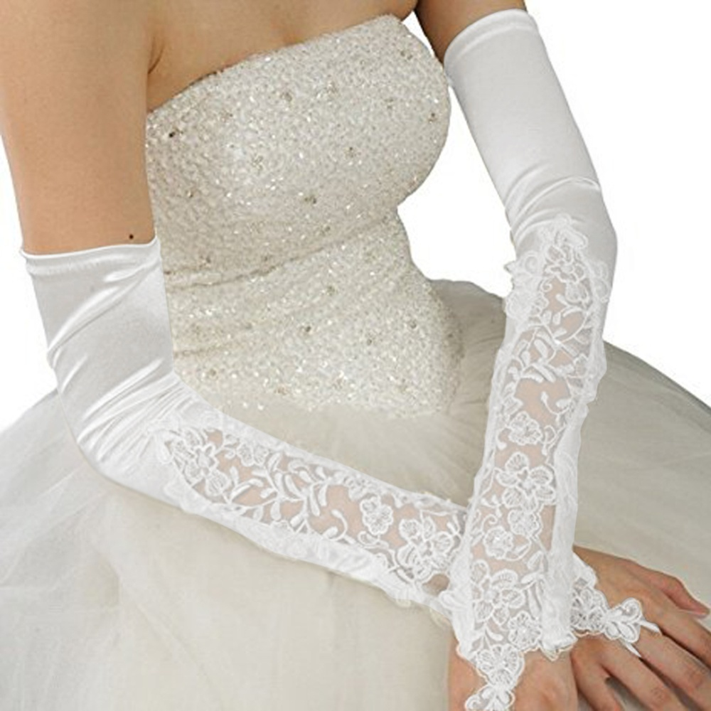 Ybc Lady Long Party Bridal Dance Gloves Wedding Gloves White Intl Source · Gloves With Shiny