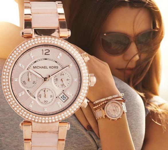 Michael Kors Parker Rose Gold Tone Parker Ladies Watch ...