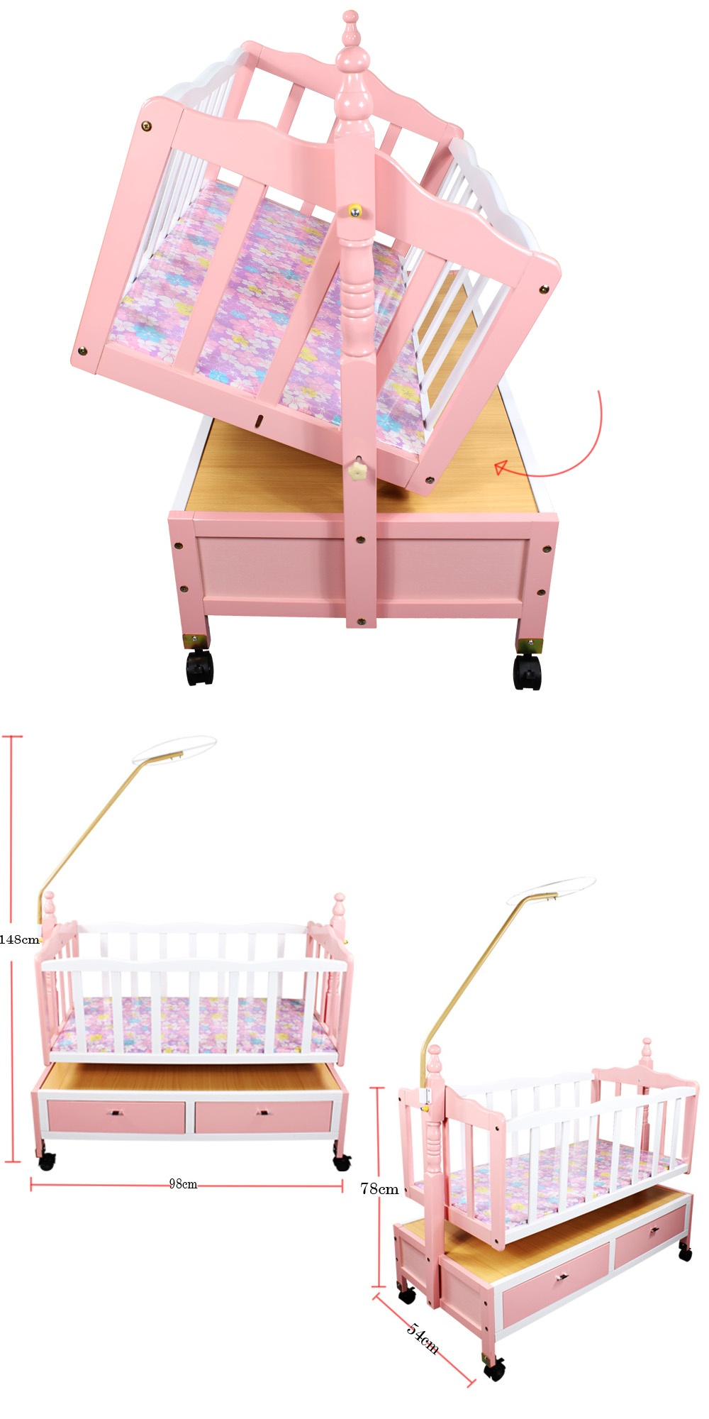 from crib bed twins baby solid infant newborn wood with twin wheels cribs wooden for cradle us r mother in babies environmental