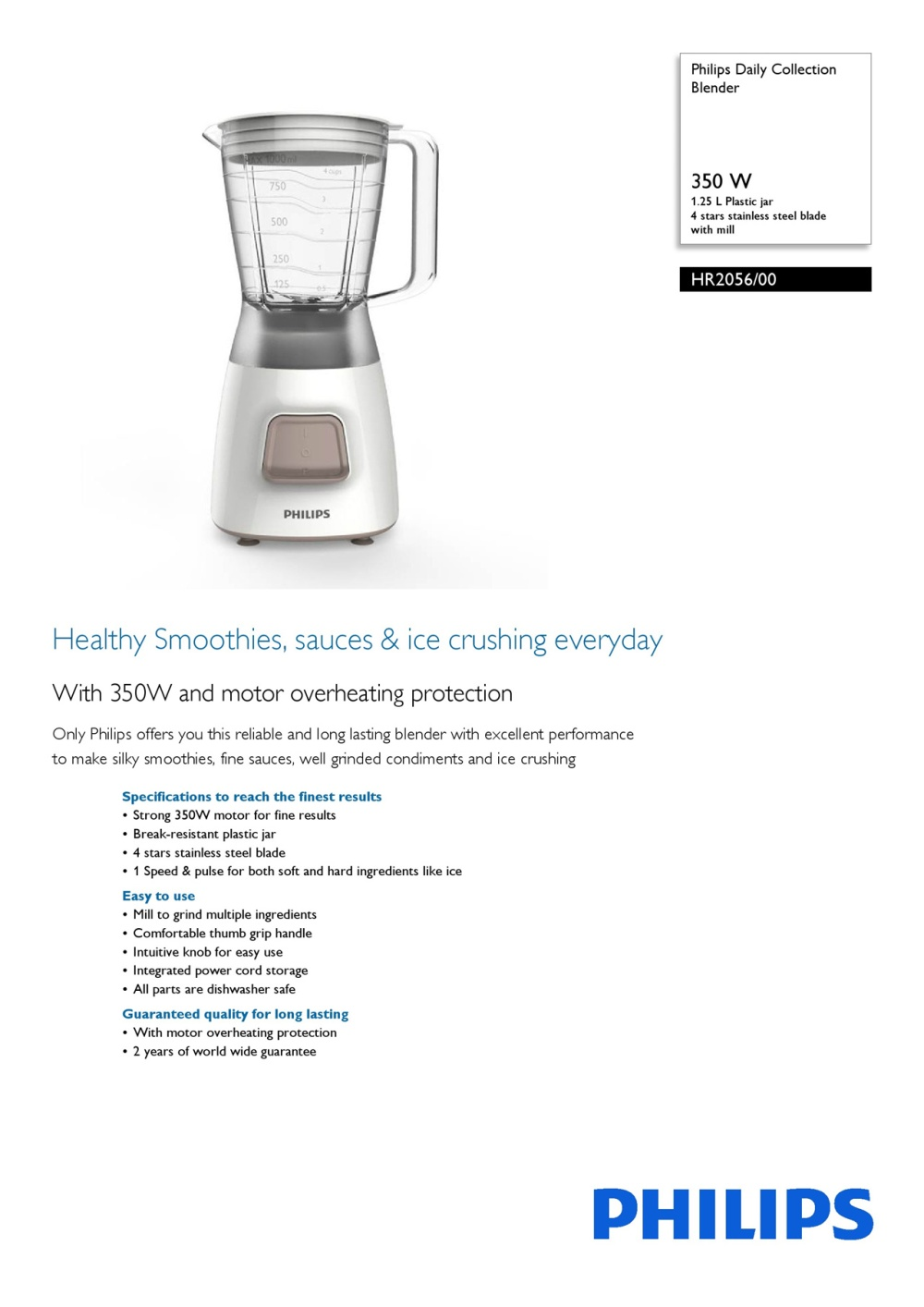 Philips Daily Collection Blender Hr2056 350 W 125 L Plastic Jar 4 Juicer Extractor Hr1811 Specifications Of Stars Stainless Steel Blade Intl